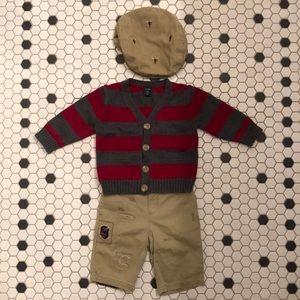RALPH LAUREN + BABY GAP sweater chino hat set